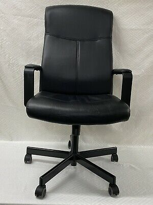 Ikea Malkolm Office Chair - Used, Black Faux Leather • 75£