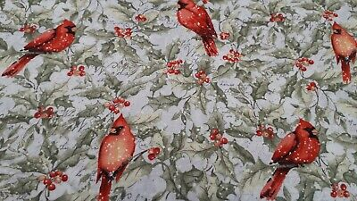 £4.50 • Buy  'Holly Jolly Red Birds' Design CP72642 Susan Winget 100% Premium Cotton Fabric
