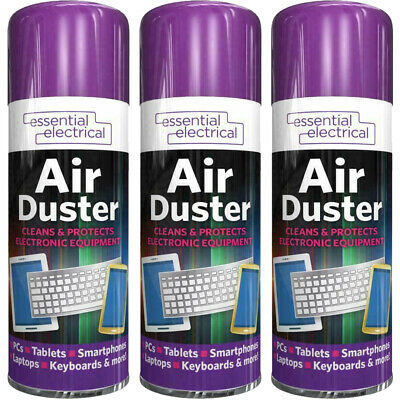3x Compressed Aerosol Air Duster Cleaner Spray Can Keyboard Laptop Mouse 200ML • 9.99£