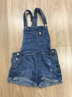 Girls Dungaree Shorts Age 12-13 Years Blue Bershka BSKGirl IN972 • 9.99£