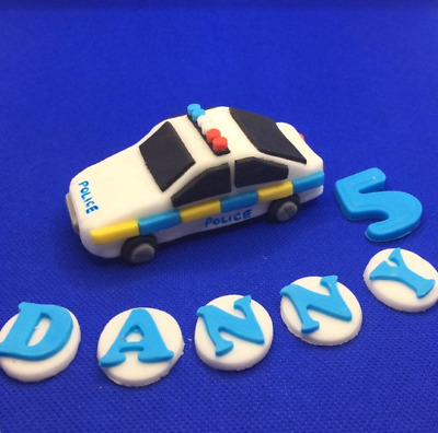 Police Car Policeman Edible Personalised Cake Topper Handmade Birthday  • 17.99£