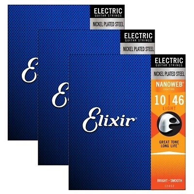 $ CDN44.64 • Buy Elixir Strings 12052 Nanoweb Electric Guitar Strings - .010-.046 Light 3 Pack