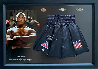 AU949 • Buy Mike Tyson Hand Signed Boxing Trunks Framed With BAS Beckett Certificate COA