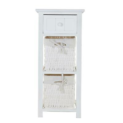 Wooden Bedside Tables Nightstand Cabinet Storage Drawer Wicker Basket Unit • 29.99£