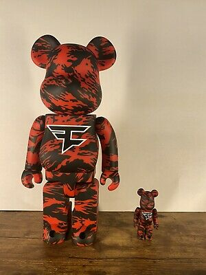 $325 • Buy Bearbrick X Faze Clan 100 & 400 Set Red Sold Out