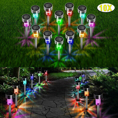 Pack Of 10 Stainless Steel Solar Powered Colour Changing Led Garden Patio Lights • 11.32£