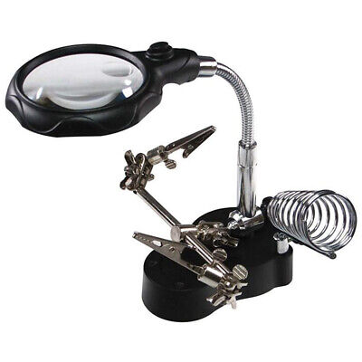 LED Magnifying Magnifier Glass With Light On Stand Clamp Arm Hands Free Black UK • 10.69£