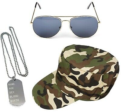 £5.99 • Buy Army Glasses Camouflage Hat Dog Tag Soldier Force Style Set Fancy Dress Costume