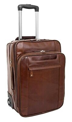 Luxurious Brown Leather Cabin Size Suitcase Unique 2 Wheels Hand Luggage Trolley • 199.99£