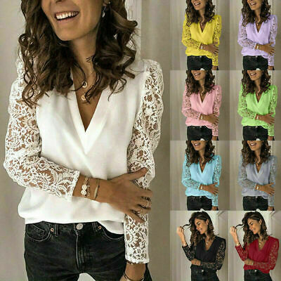 Plus Size Womens V Neck Lace Long Sleeve Tops Blouse Ladies Casual Loose T Shirt • 8.09£