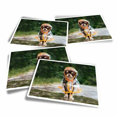 £3.49 • Buy 4x Rectangle Stickers - Chihuahua Raincoat Puppy Dog  #16007