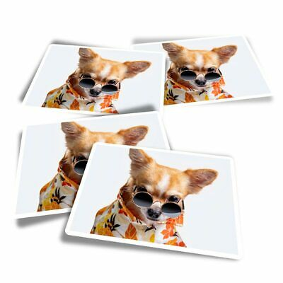 £3.49 • Buy 4x Rectangle Stickers - Chihuahua Dog Puppy Tropical Shirt  #16781