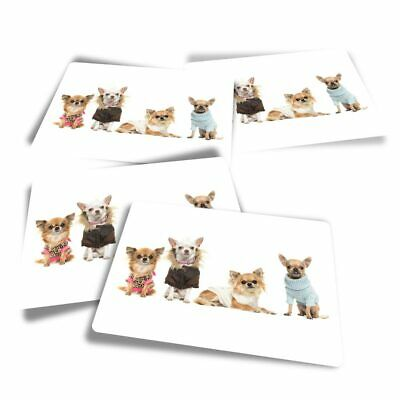 £3.49 • Buy 4x Rectangle Stickers - Chihuahua Dog Puppy Group  #8131-2