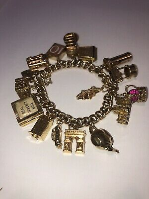£2942 • Buy 9 Carat Gold London Theme Charm Braclet. One Of A Kind, Very Rare