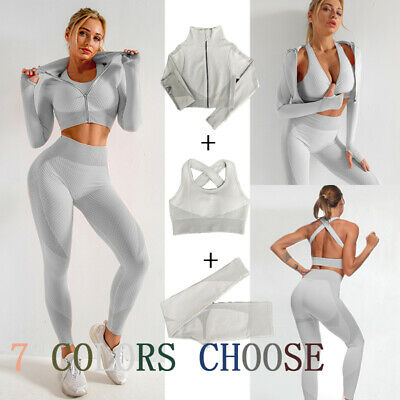 Women Sports Suit Zip Yoga Set Bra Leggings Gym Set Workout Clothes Fitness 3pcs • 24£