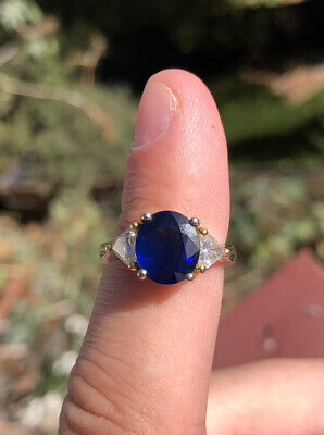 10k Yellow Gold Opal and Diamond Ring Australian Solid Opal 3.53g Size 5.75