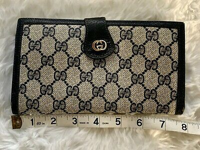 $189 • Buy Authentic Vintage GUCCI Navy Blue Signature GG Long Leather Wallet