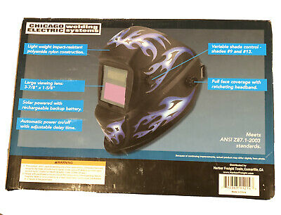 $ CDN28.11 • Buy Auto Darkening Welding Helmet Blue Flame Design Face Shield Weld Sparks Solar