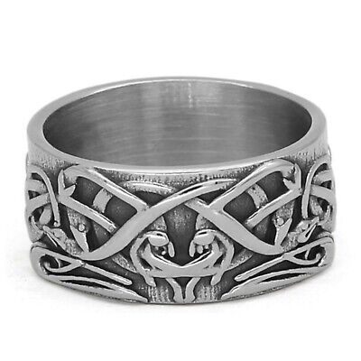 $19.99 • Buy Norse Knot Ring Mens Womens Silver Stainless Steel Celtic Viking Band Sizes 8-12