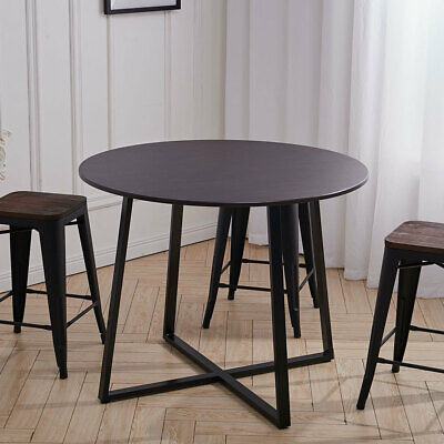 100CM Rustic Round Dinning Table Wooden Top Metal Legs Living Room Kitchen Cafe • 92.95£