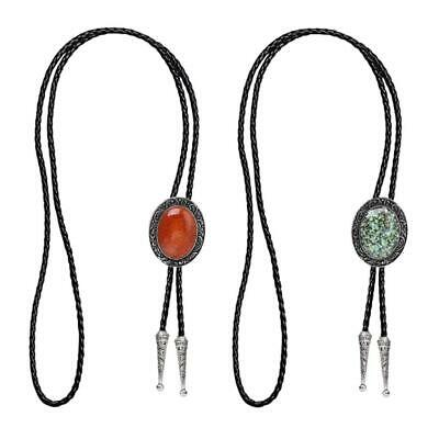 Antique Leather Opal Bolo Tie Western Rodeo Pendant Necktie Cord String • 6.33£