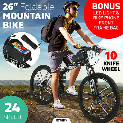 AU299 • Buy Norflex Dual Full Suspension Mountain Bike Foldable Bicycle 24 Speed Black White