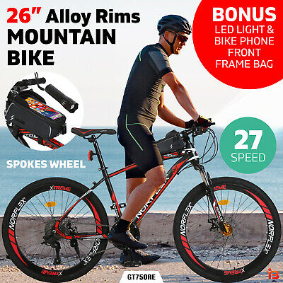 AU289 • Buy Norflex Suspensions 27 Speed Mountain Bike 26  Alloy Rims Bicycle Black Red
