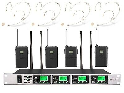 Wireless Microphone Set PRO UHF 4 Channel Earset Microphone System Headset Beige • 225.72£