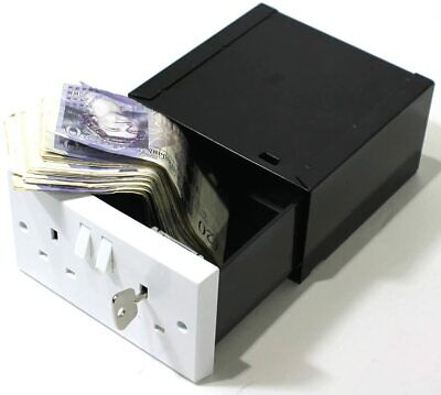 Imitation Double Plug Socket Wall Safe Diversion Secure Secret Hidden Box 2 Keys • 26.99£