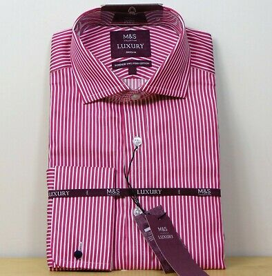 £19.99 • Buy M&S LUXURY Superior Cotton REGULAR FIT Double Cuff STRIPE SHIRT ~ Size 17  ~ RED