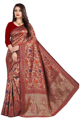 Pakistani Sari Indian Red Designer Silk Saree Ethnic Bollywood Formal Party Wear • 21.99£