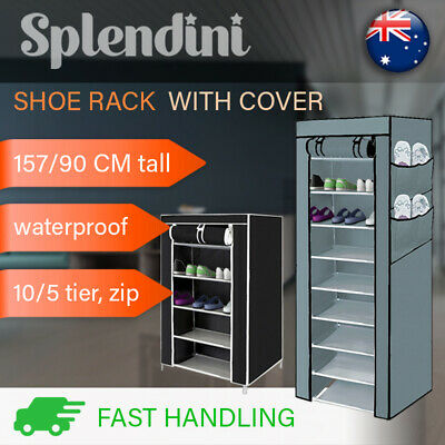 AU21.99 • Buy 5 , 10 Tier Shoe Rack Cabinet Storage Organiser W/ Cover Portable Shoes Wardrobe