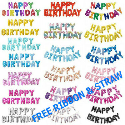 £2.90 • Buy Happy Birthday Balloons Banner Balloon Bunting Party Decoration Inflating Decor