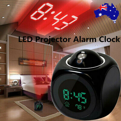 AU11.39 • Buy LED Digital Projection Alarm Clock Projector LCD Voice Talking Time Temperature