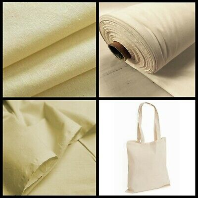 £4.50 • Buy Calico Cotton Fabric Natural Canvas Plain 60  Woven Medium Weight Upholstery