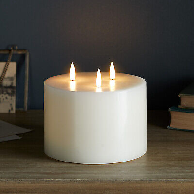 £32.99 • Buy 3 Wick TruGlow® Large Battery LED Flameless Pillar Candle Ivory Wax Timer 10cm