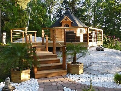 £4990 • Buy 9m2 BBQ KOTA GRILL Log Cabin In 44mm Logs Summerhouse Garden Shed Structure