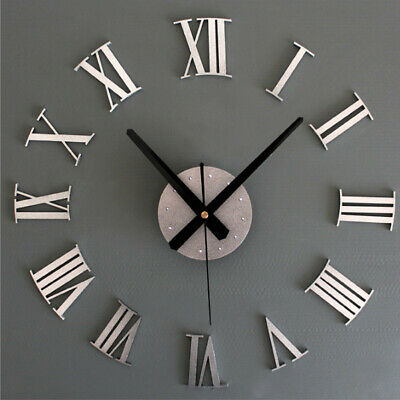 3D DIY Large Number Mirror Wall Clock Sticker Decor For Home Office Kids  • 8.99£