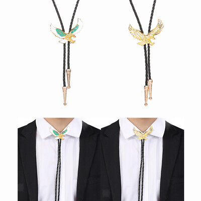 Retro Style Flying Eagle Bolo Tie Western Necktie Leather Cord String Necklace • 5.05£