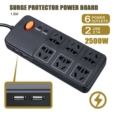 AU21.75 • Buy Power Board 6 Way Outlets Socket 2 Usb Charging Charger Ports W/Surge Protector