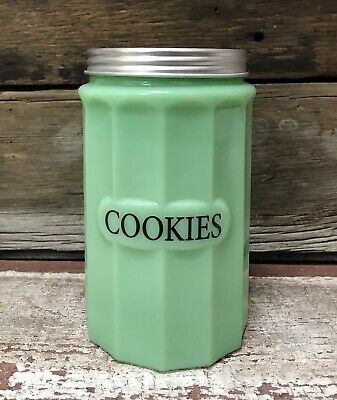 $46.40 • Buy COOKIES Jadeite Green Milk Glass Canister With Lid