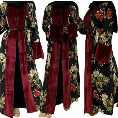 AU39.58 • Buy Autumn Velvet Open Kimono Abaya Maxi Dress Muslim Women Kaftan Robe Jilbab Dubai