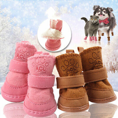 £8.19 • Buy Warm Fleece Small Pet Dog Shoes Cute Paw Puppy Cat Shoes Anti-slip Snow Boots
