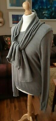 FABRIC Grey Merino Wool Mix Jumper With Attached Scarf Size Medium Chest 40  • 15£