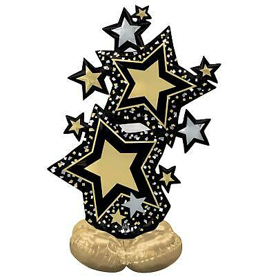 £10.30 • Buy Giant Hollywood Black Gold Star Giltz Glam New Years Air Helium Party Decoration