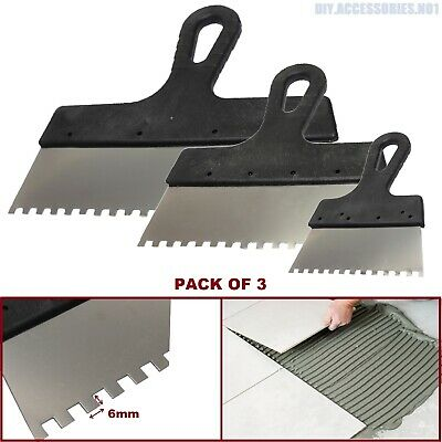 Set Of 3 6x6 Tiling Adhesive Glue Spreader Square Notched Teeth Serrated Comb  • 5.99£