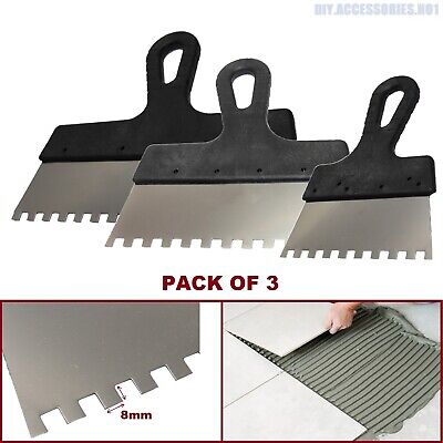 Set Of 3 8x8 Tiling Adhesive Glue Spreader Square Notched Teeth Serrated Comb  • 5.99£
