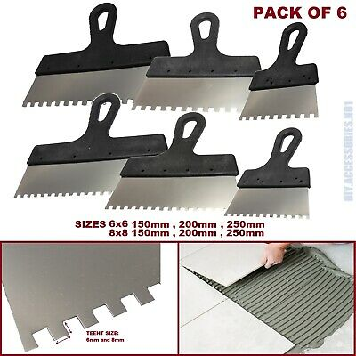 Set Of 6 Tiling Adhesive Glue Spreader Square Notched 6,8 Teeth Serrated Comb  • 10.99£