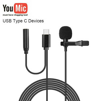 AU12.99 • Buy For Android Samsung Youtube Video Recording Mic TYPE-C Lapel Lavalier Microphone