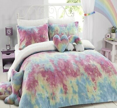 Teddy Fleece Tiedye RAINBOW Super Soft Warm Cosy Duvet Cover Set,Or Fitted Sheet • 19.99£